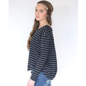 Free People We The Free Stripe Button Shoulder Top
